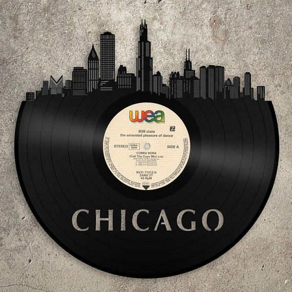 Chicago Art Skyline Illonois Wall Record 50th Birthday Gift Idea For Him Her Women