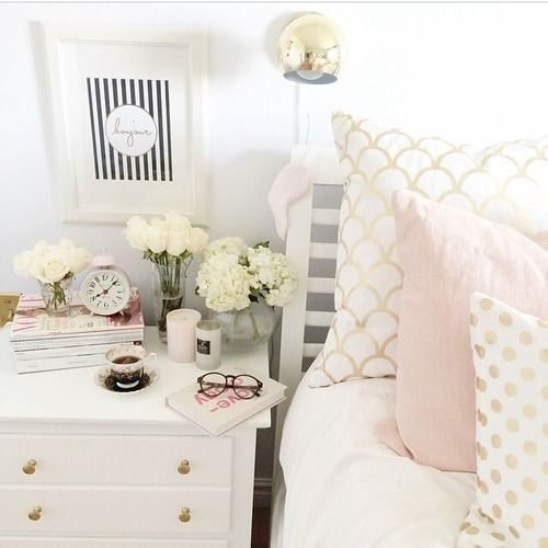 This is my favorite bedroom. Not sure how you feel about pink but I love it with the gold pillows. Maybe with white and black as the main neutrals.