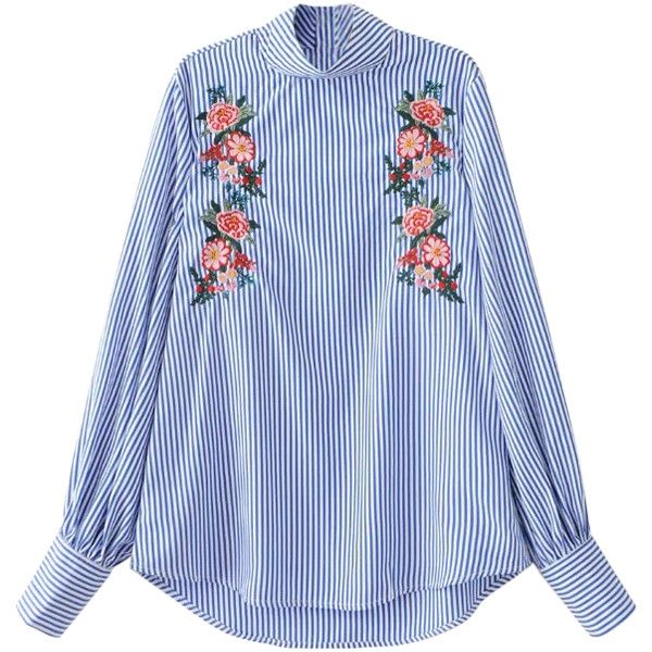 Floral Embroidered Striped Blouse (520 MXN) ❤ liked on Polyvore featuring tops, blouses, blue blouse, blue stripe blouse, stripe top, blue striped top and blue top