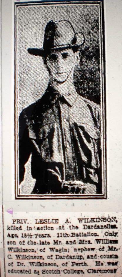 2 cousin Leslie Arthur Wilkinson KIA Gallipoli