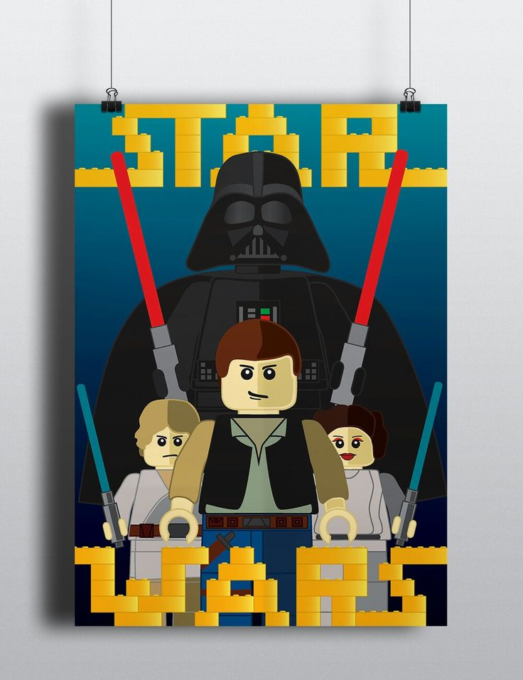 A variation of my illustrated poster on Lego Star Wars with the Star Wars typeface illustrated with the traditional Lego blocks.