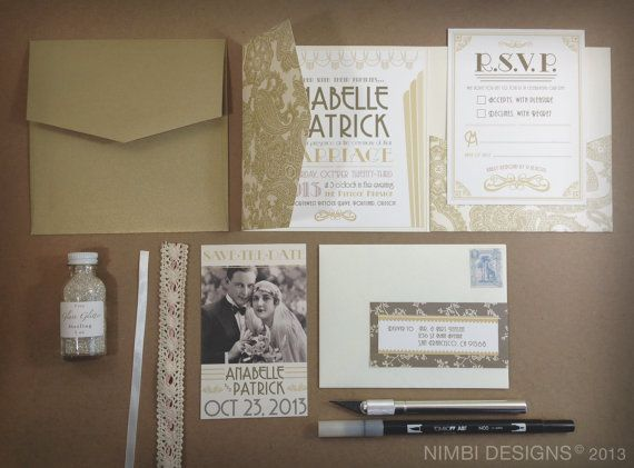Ok, Seriously Swooning Over This Gorgeous Invitation Suite   Perfect For A  Great Gatsby Wedding