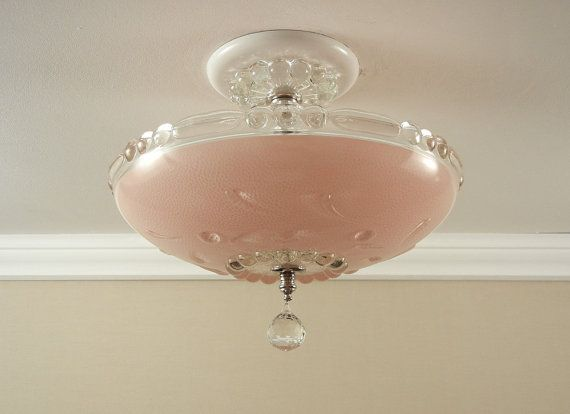 Vintage 1940 s Antique Pink Pressed Glass Bedroom Hallway Ceiling Light  Fixture Rewired Perfect for the girl. Best 25  Hallway ceiling lights ideas on Pinterest   Hallway