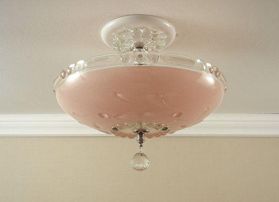 Vintage 1940 S Antique Pink Pressed Glass Bedroom Hallway Ceiling Light Fixture Rewired