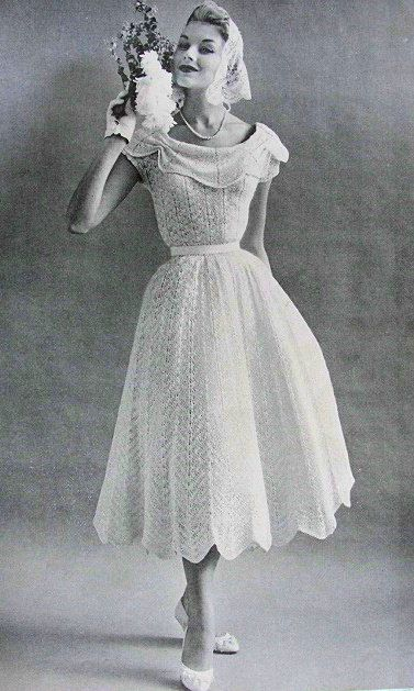 1950s Beautiful Informal Wedding Bridal Dress  Party Evening Lace Dress Knitting Pattern PDF. $10.00, via Etsy.