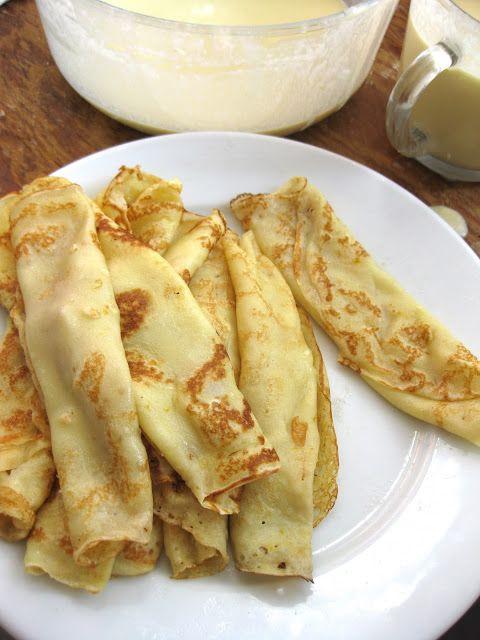 Crepes :  1 c flour 1 T sugar 1/4 t salt 1 1/3 c milk 1 T vanilla 3 eggs 3 T melted butter