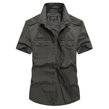 AFSJEEP Casual Loose Cotton Breathable Chest Pockets Short Sleeve Outdoor Shirts for Men at Banggood