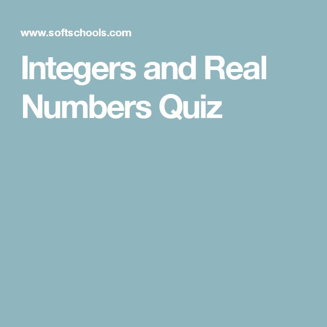 Integers and Real Numbers Quiz