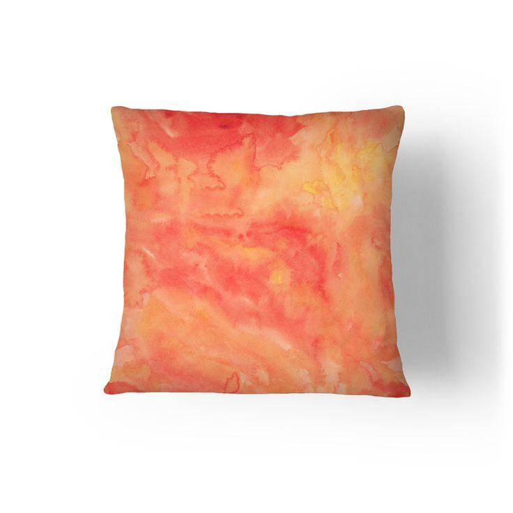 Orange Salmon Watercolor Throw Pillow