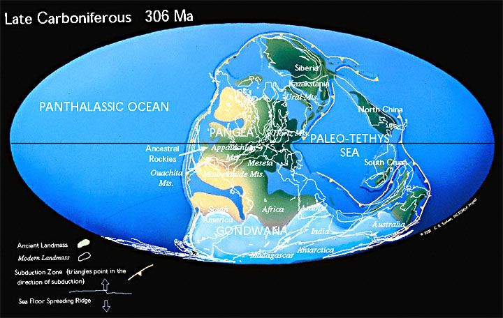 #Carboniferous #Earth Time of Great Coal Swamps. By the Late Carboniferous the continents that make up modern North America and Europe had collided with the southern continents of Gondwana to form  the western half of Pangea.  Ice covered much of the southern hemisphere and vast coal swamps formed along the equator.