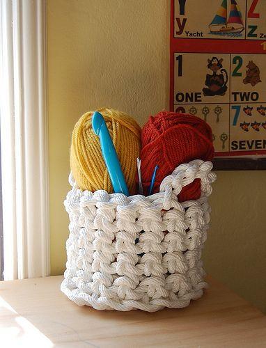 crocheted rope basket