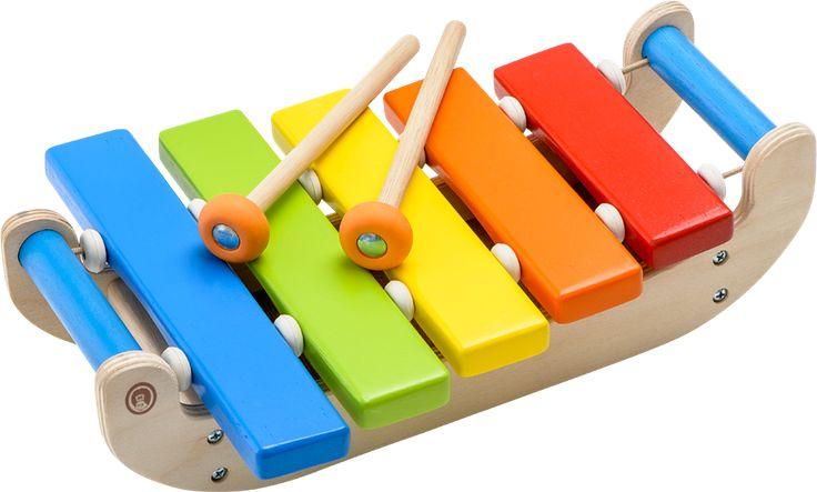 BR xylofon Børnexylofon af træ.Med denne BR-xylofon kan barnet udforske sin kreative side. Med 5 farvede træstave og 2 køller, der kan opbevares i xylofonen.