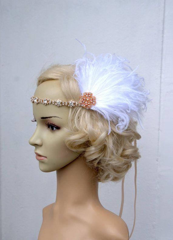 Rose Gold Flapper Inspired Headband The Great Gatsby Headband, 1920s headpiece, Flapper Feather Headband, 1920's, Gold, Black ,rhinestone