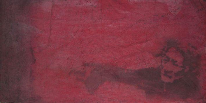 """autore: Francesca Scammacca - """"C'è questo in me"""" - acrilici e grafite su tela - cm 194x74 - 2001"""
