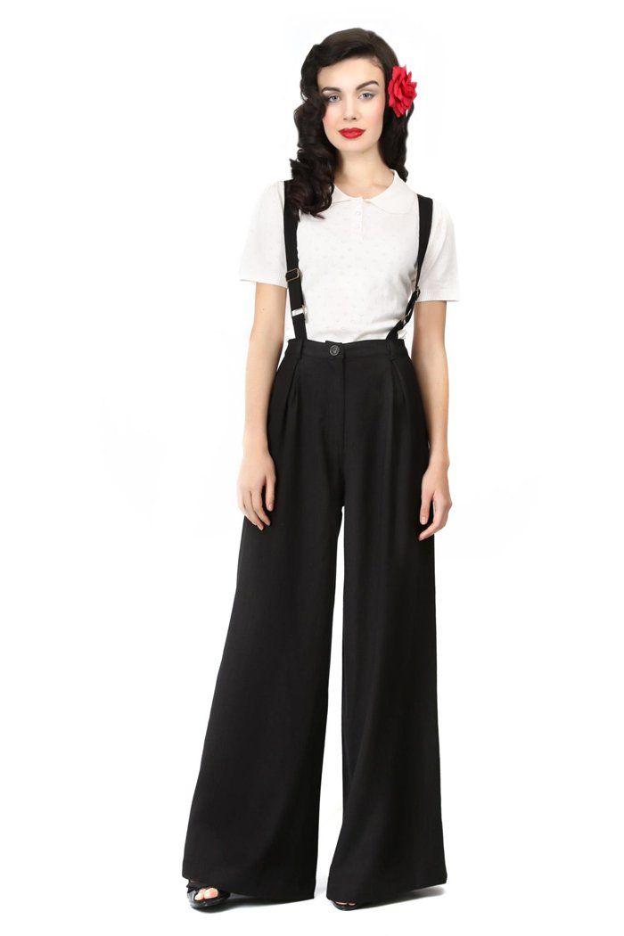 Collectif GLENDA Chevron SWING Trousers 40s HOSE Blk Rockabilly: Amazon.de: Bekleidung