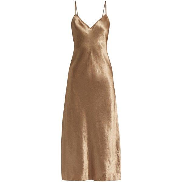 Vince Sleeveless satin midi dress ($327) ❤ liked on Polyvore featuring dresses, gold, v neck dress, brown dresses, midi dresses, calf length dresses and satin slip dress