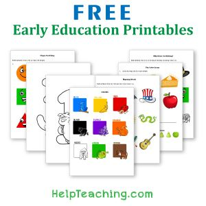 Free Early Education Printables from HelpTeaching.com - coloring pages, alphabet letters, numbers, basic shapes, and colors.