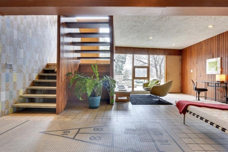 Now added to my list of top-10 time capsule houses of all time: This mind-blowingly exquisite 1955 midcentury modern home in Minneapolis — the William and Irma Dale/Victor House –designed by acclaimed architect Carl Graffunder for his sister and family, who were owners of a local tile shop. And their tile shop must have been something …