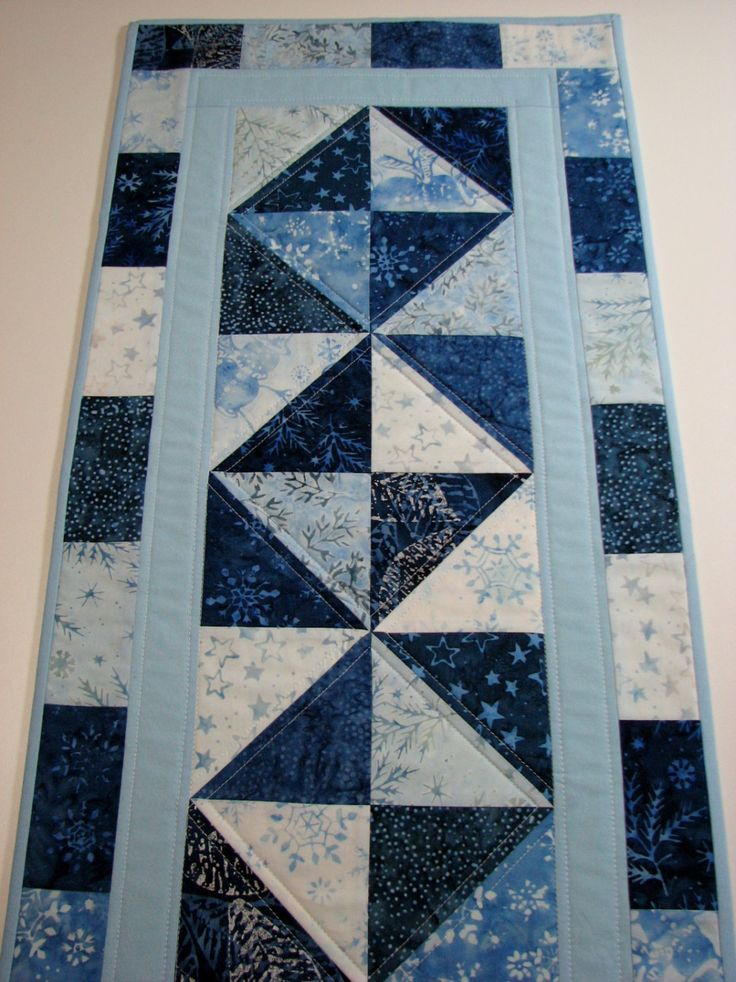 Quilted Table Runner , Blue Batik , Winter , Christmas