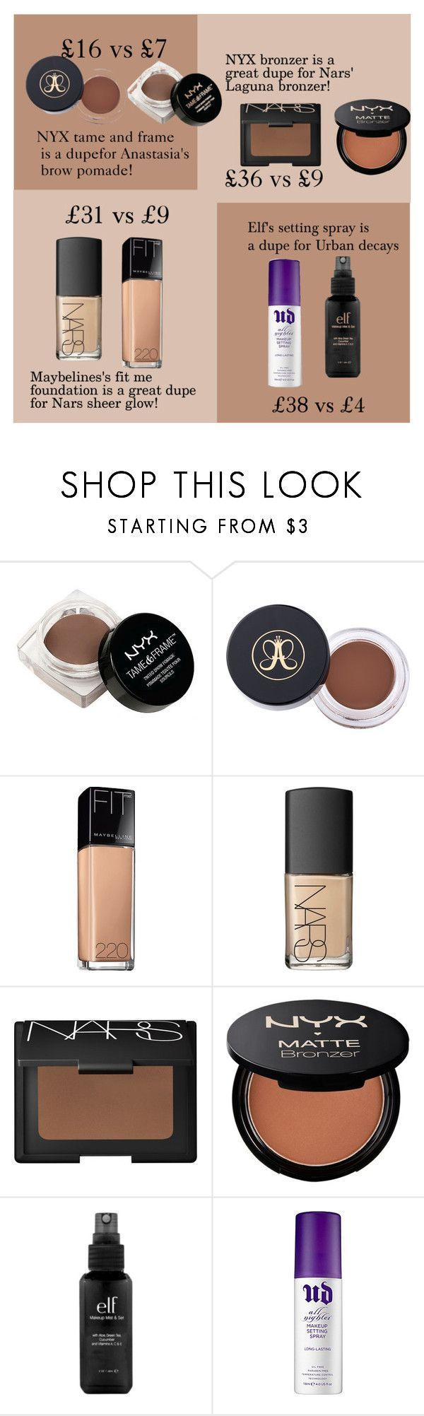 \Makeup dupes!\ by olidys liked on Polyvore featuring beauty NYX Maybelline NARS Cosmetics e.l.f. Urban Decay and beautydupes