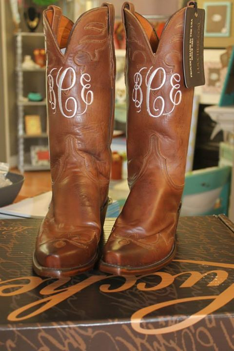 I want my cowboy boots monogrammed!!!!   The Purple Polka Dot in Cary, NC
