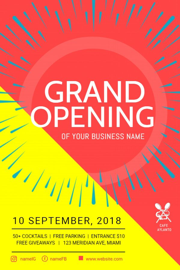 business grand opening flyer poster template bright grand
