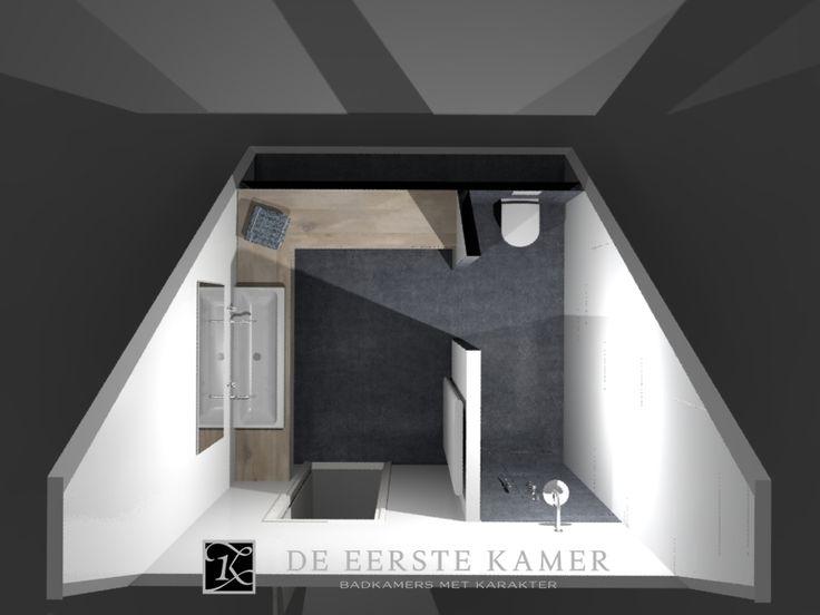 (De Eerste Kamer) Het schuine dak is geen belemmering voor de indeling van deze moderne badkamer. Meer foto's van onze badkamers vindt u op www.eerstekamerbadkamers.nl