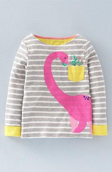 Mini Boden 'Cosy Dinosaur' Graphic Long Sleeve Tee (Toddler Girls, Little Girls & Big Girls)