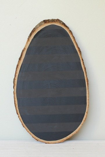 barkboard: a slab of wood and chalkboard paint! Great idea.