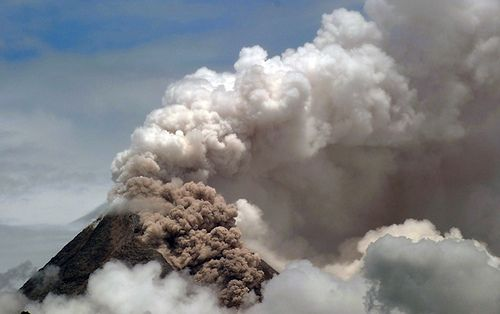 Mount Merapi eruption. This volcano is the famous one in Indonesia