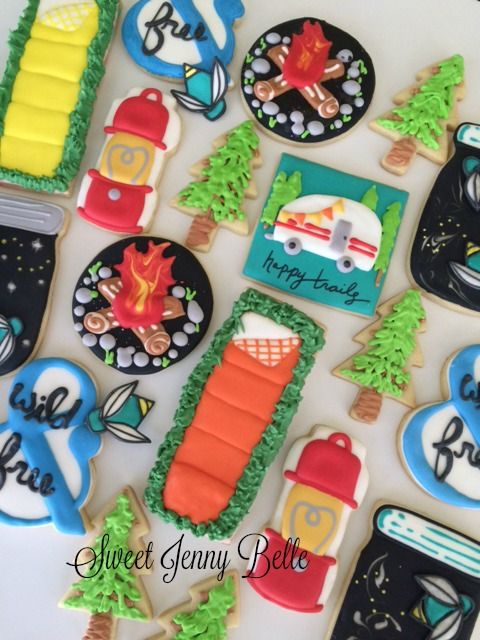 camping theme decorated cookies by sweet jenny belle