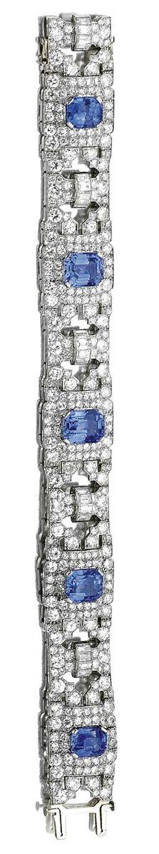 Braccialetto in oro bianco, zaffiri e diamanti. 1930.