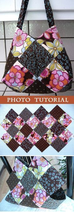 This patchwork bag is made using charm squares and has a great shape due to the way that fabric squares are sewn together. www.handmadiya.co...