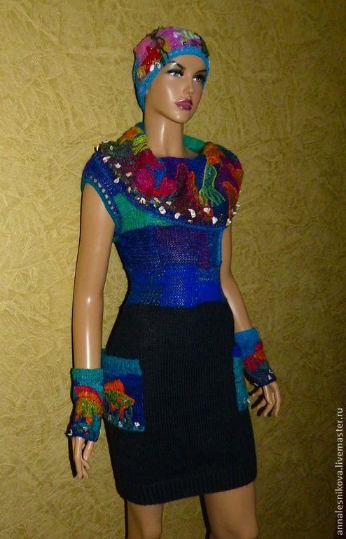 """Купить Платье """"Морской коктейль"""" - мода, эксклюзивная работа, хендмейд, Анна Лесникова, дизайнерская одежда"""