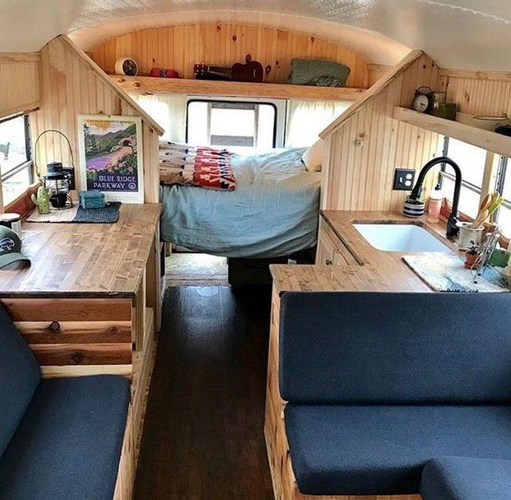 Beautiful Interior Bus Camper Conversion For Tour (27
