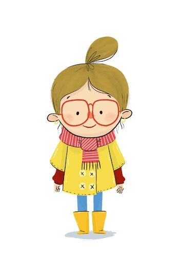 Ester Garay  Illustration - ester, garay, ester garay, commercial, educational, fiction, mass market, picture books, cute, sweet, YA, young reader, cute, sweet, child,girl, glasses, wellies, scarf, pattern  person, figure, figurative, colour, colourful, coat