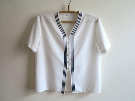 Vintage 1980s White Nautical Blouse Womens Shirt by ArtasStore