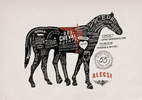 Des cheval poster by Alexis Jamet, via #Behance #Typography