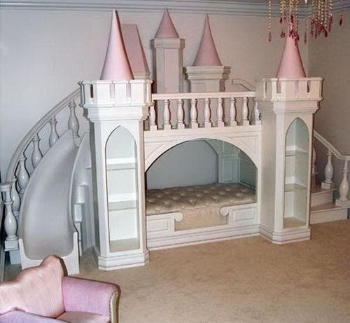 girls bunk beds with slide  Princess Castle Loft Bed by Poshtots ...