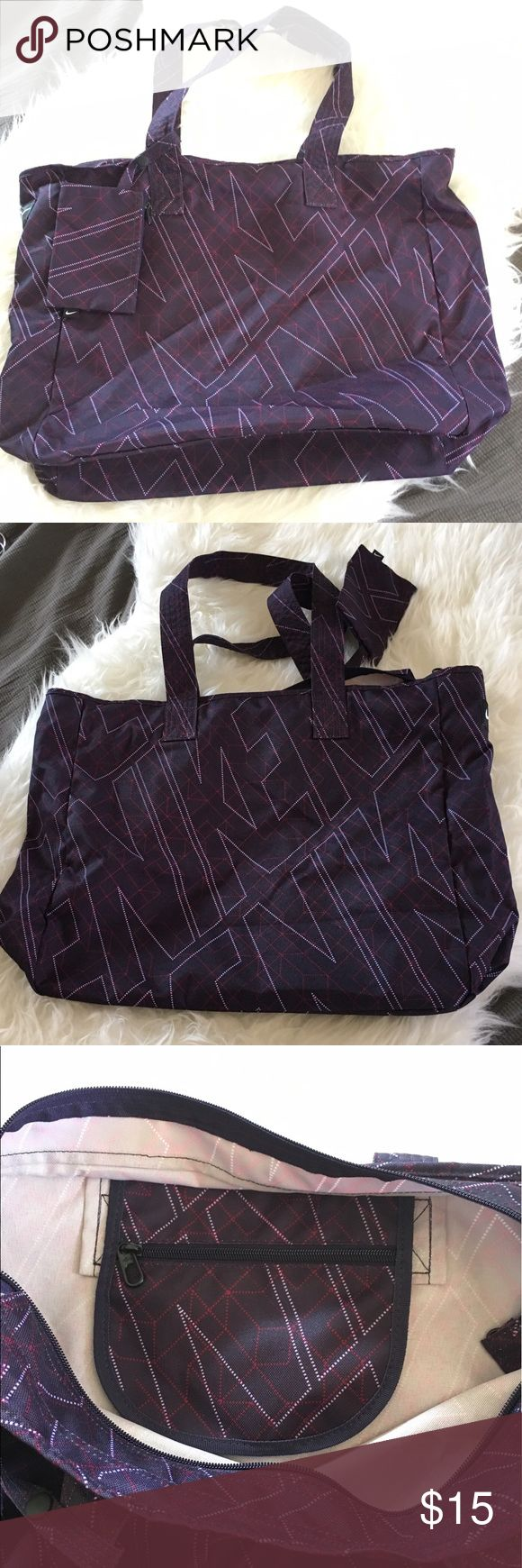 Nike Gym Tote Bag with Coin Purse Purple Nike gym tote bag with attached coin purse that can be removed. Large interior and small interior zippered pocket. Nike Bags Totes