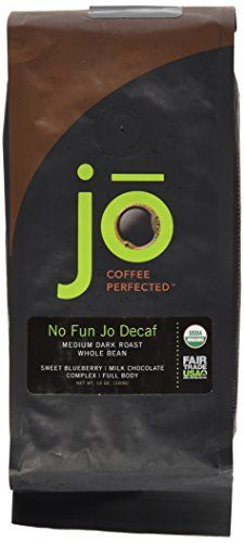 NO FUN JO DECAF: 12 oz, Organic Decaf Coffee, Swiss Water Process, Fair Trade Certified, Medium Dark Roast, Whole Bean Arabica Coffee, USDA Certified Organic, NON-GMO - http://goodvibeorganics.com/no-fun-jo-decaf-12-oz-organic-decaf-coffee-swiss-water-process-fair-trade-certified-medium-dark-roast-whole-bean-arabica-coffee-usda-certified-organic-non-gmo/
