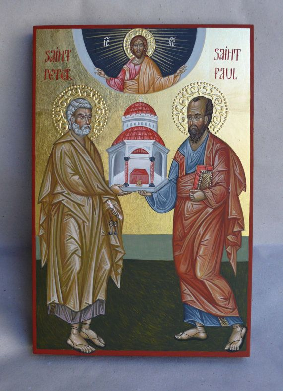 St.Peter and St.Paul, hand painted orthodox icon by Georgi Chimev