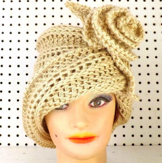 Crochet Hat Womens Hat Cloche Hat Crochet Flower Bone Hat African Hat Chapeau OMBRETTA Cloche Hat by strawberrycouture by #strawberrycouture on #Etsy