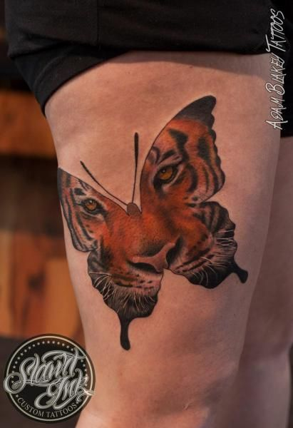 Thigh Butterfly Tiger Tattoo by Slawit Ink