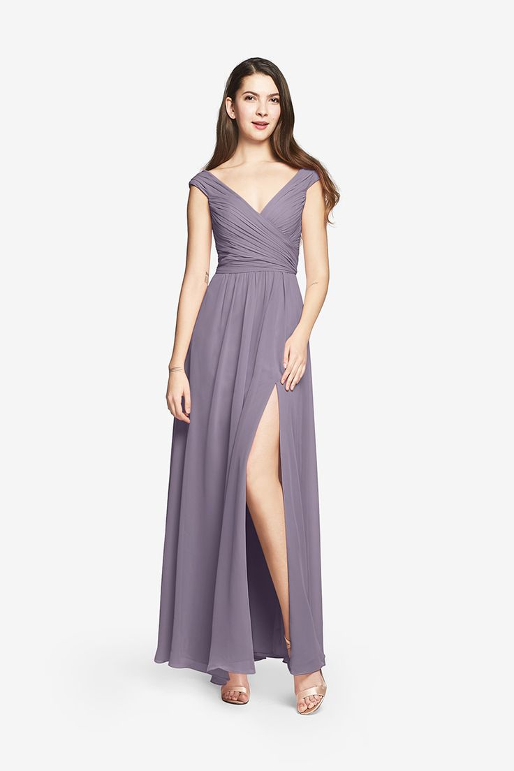 Literally the perfect color and dress but too expensive :( Elizabeth Gown Wide Neck Gown in Chiffon Column dresses have a way of elongating the silhouette for a more elegant appearance. Ours, styled in soft, airy chiffon, is all the more alluring, thanks to its stunning décolletage reminiscent of vintage gowns and a long fluid skirt. PS. Don't forget the jewels.