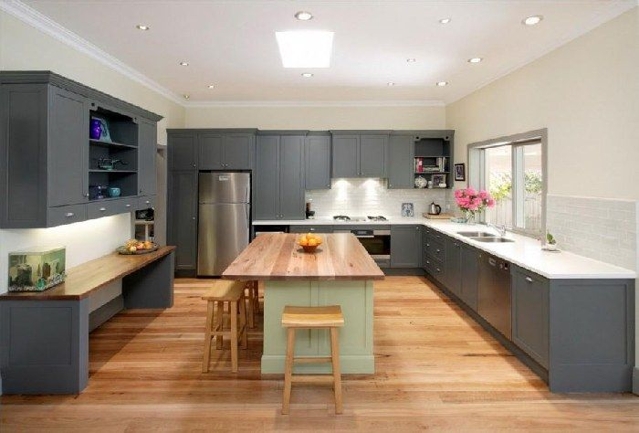 Gray cabinets kitchen