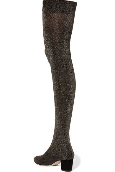 Charlotte Olympia - Less Is More Metallic Jersey Over-the-knee Boots - Black - IT38.5