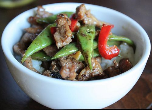 Stir-fried pork with black beans and green beans