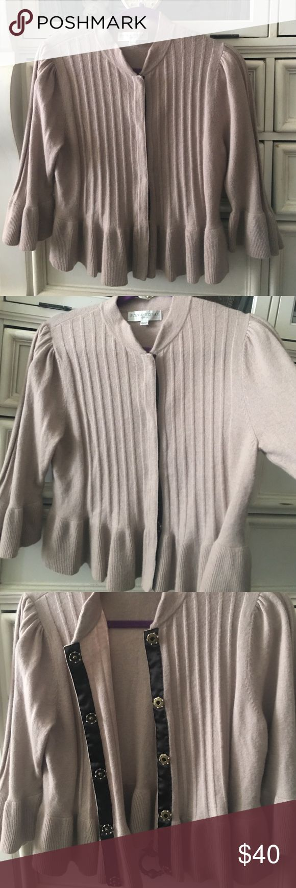❌ Sale ❌ Delicate cardigan, by Edina Ronay London. Puffed shoulder, bell sleeve 50% wool, 40% nylon 10% angora. United Kingdom size 16 is a 12/14 USA by designer Edina Ronay of London. Beautifully made. Edina Ronay Sweaters Cardigans