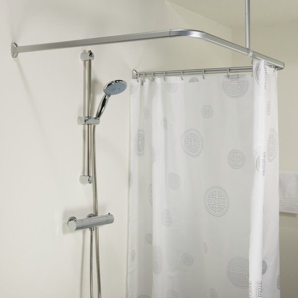 Easy Roll 80cm U Shaped Fixed Shower Curtain Rail Easy Rolls Shower Curtain Curtain Rails